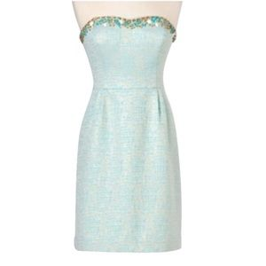 Lilly Pulitzer Teal Metallic Raya Cocktail Dress 4